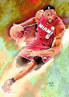 LeBron James, Miami Heat, NBA Art by E. L. Vela