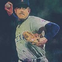 """""""Nolan Ryan, Texas Rangers, MLB Art by E L Vela"""" by artofvela"""