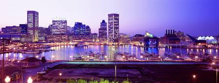 Example of Baltimore Inner Harbor skyline in perspective on angled canvas