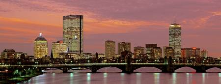 Example of Boston Back Bay skyline in perspective on angled canvas