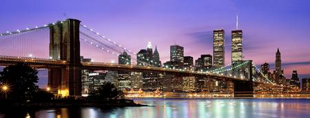 Example of Brooklyn Bridge, New York NY skyline in perspective on angled canvas