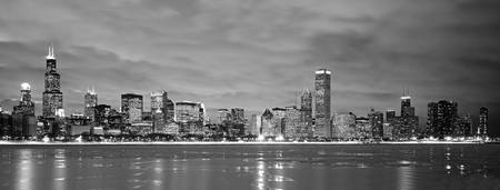 Example of Chicago, IL Black & White skyline in perspective on angled canvas