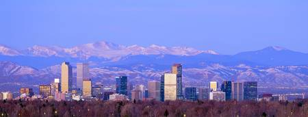 Example of Denver, CO skyline in perspective on angled canvas