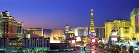 Example of Las Vegas Strip at Dusk skyline in perspective on angled canvas
