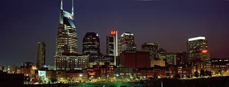 Example of Nashville skyline in perspective on angled canvas