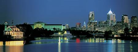 Example of Philadelphia, PA skyline in perspective on angled canvas