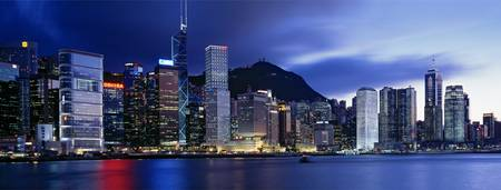 Example of Hong Kong skyline in perspective on angled canvas