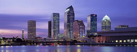 Example of Tampa skyline in perspective on angled canvas