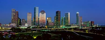 Example of Houston skyline in perspective on angled canvas
