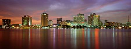 Example of New Orleans skyline in perspective on angled canvas
