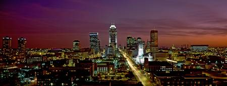 Example of Indianapolis skyline in perspective on angled canvas