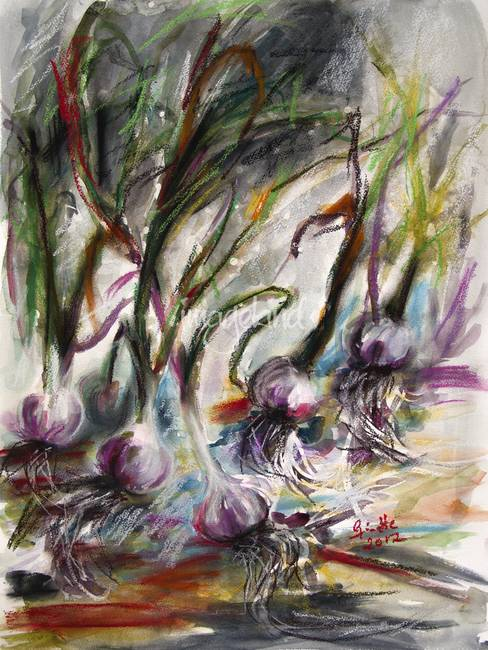 Garlic Still Life Real Watercolor and Pastel