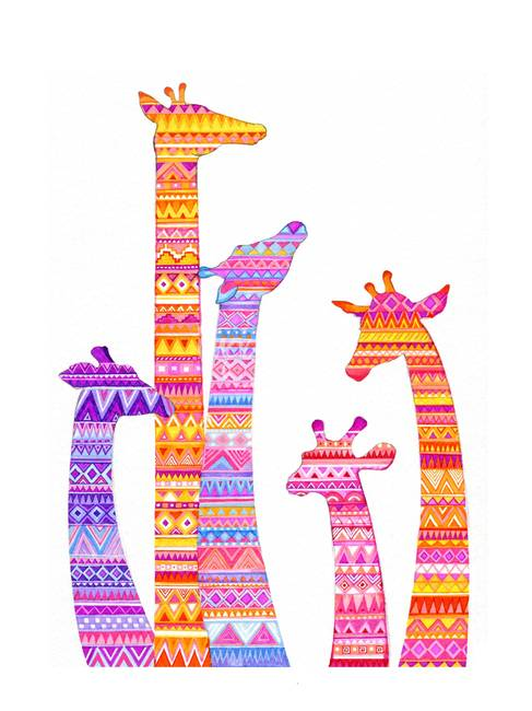Giraffe Silhouette in Colorful Tribal Print