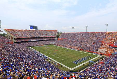 Example of Florida stadium in perspective on angled canvas
