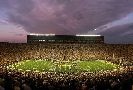 Example of Michigan stadium in perspective on angled canvas