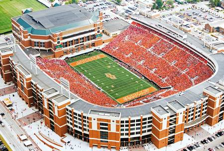 Example of Oklahoma State stadium in perspective on angled canvas