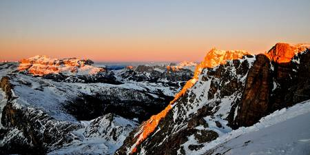 First lights of the day on the dolomites mountains