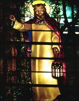 Jesus, Light of The World, in stained glass
