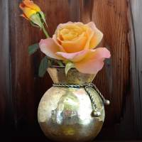 Sunset Roses in Brass Vase by I.M. Spadecaller