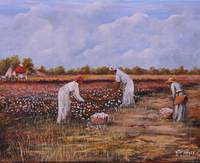 Three Sisters Cotton Pickers  African American Art