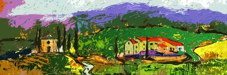 Abstract Modern Tuscan Panoramic Landscape