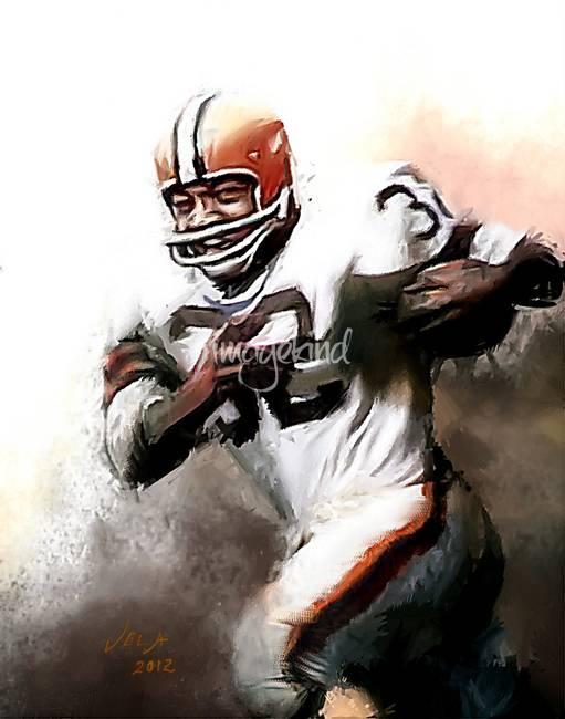 Jim Brown NFL Cleveland Browns Art by E. Vela by Edward Vela