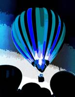 Stripe Hot Air  Balloon blue 5