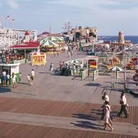 """Hunts Pier Wildwood New Jersey, Flyer Roller Coast"" by RetroStockPix"