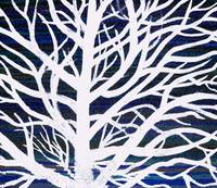 white with blue tree