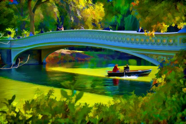 Rowing within Central Park's Lake in Autumn / Fall