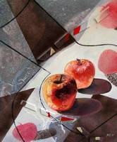red apples and a flat vase,mm,50x60cm,2006