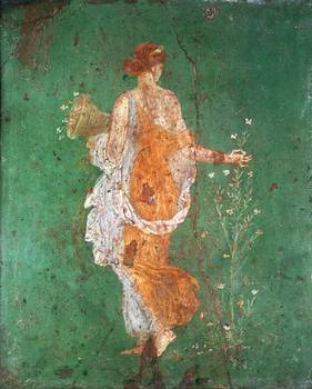 Spring Maiden Gathering Flowers From The Villa O By The