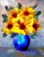 A vase of Sunflowers