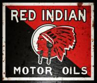 Red Indian Motor Oil vintage sign rusted version