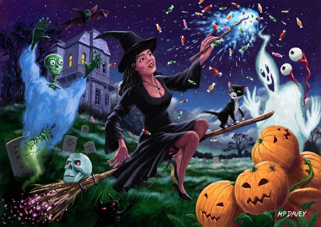 Happy Halloween Witch with graveyard friends