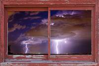 Double Trouble Lightning Barn Window Frame Art