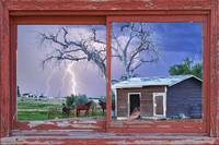 Lightning and Horses Red Barn Picture Window Frame