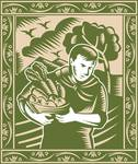 Organic Farmer With Basket Harvest Crops Retro