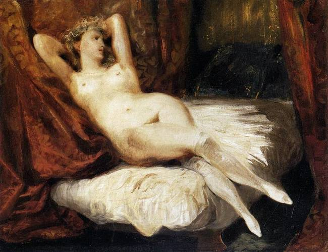 Female Nude Reclining on a Divan - Oil Painting by