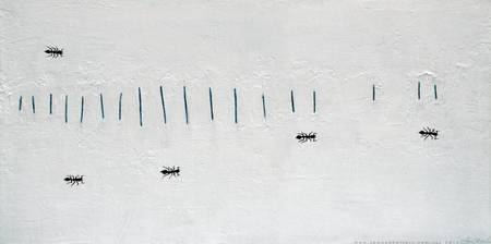 5 Ants, originally artists acrylic, modelling past
