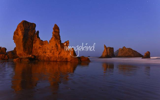 Bandon, Oregon sea stacks reflections at dawn