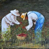 PICKING PEPPERS KIP HAYES SOUTHERN ART Art Prints & Posters by Larry
