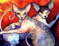 Sphynx Cats watercolor print painting
