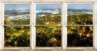 City Lights Rustic Picture Window Frame Photo Art