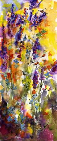 Summer Lavender Watercolor Painting