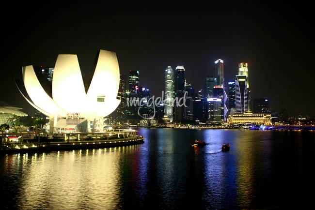 City by night Singapore, Art Science Musuem MBS