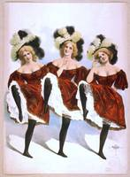 Three dancing women in red costumes and feathers