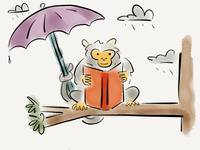 Michelle the monkey reads in the rain