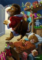 father christmas lion delivering presents
