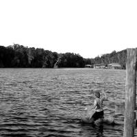 Cody Jumps in Water in Black and White  by Barbara Wilford Gentry